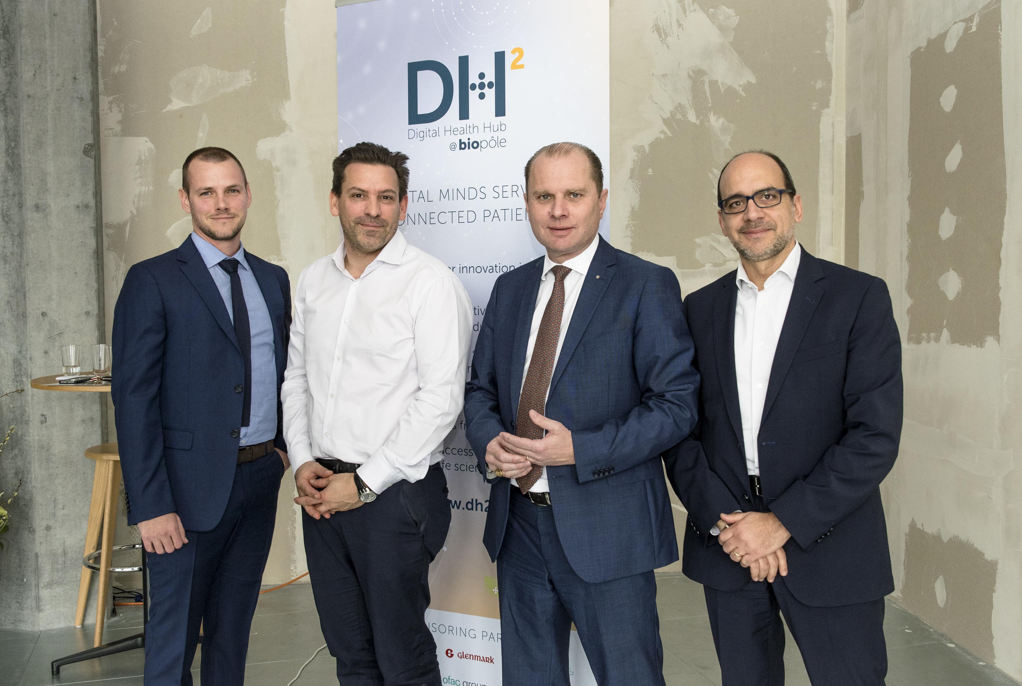 Photo (N. Spuhler), left to right: Adrien de Tonnec, Sales & Marketing Manager at Medtronic; Prof Thomas Hügle, Chef du Service de rhumatologie du CHUV; Philippe Leuba, Chef du Département de l'économie, de l'innovation et du sport et Nasri Nahas, CEO of  Biopôle SA