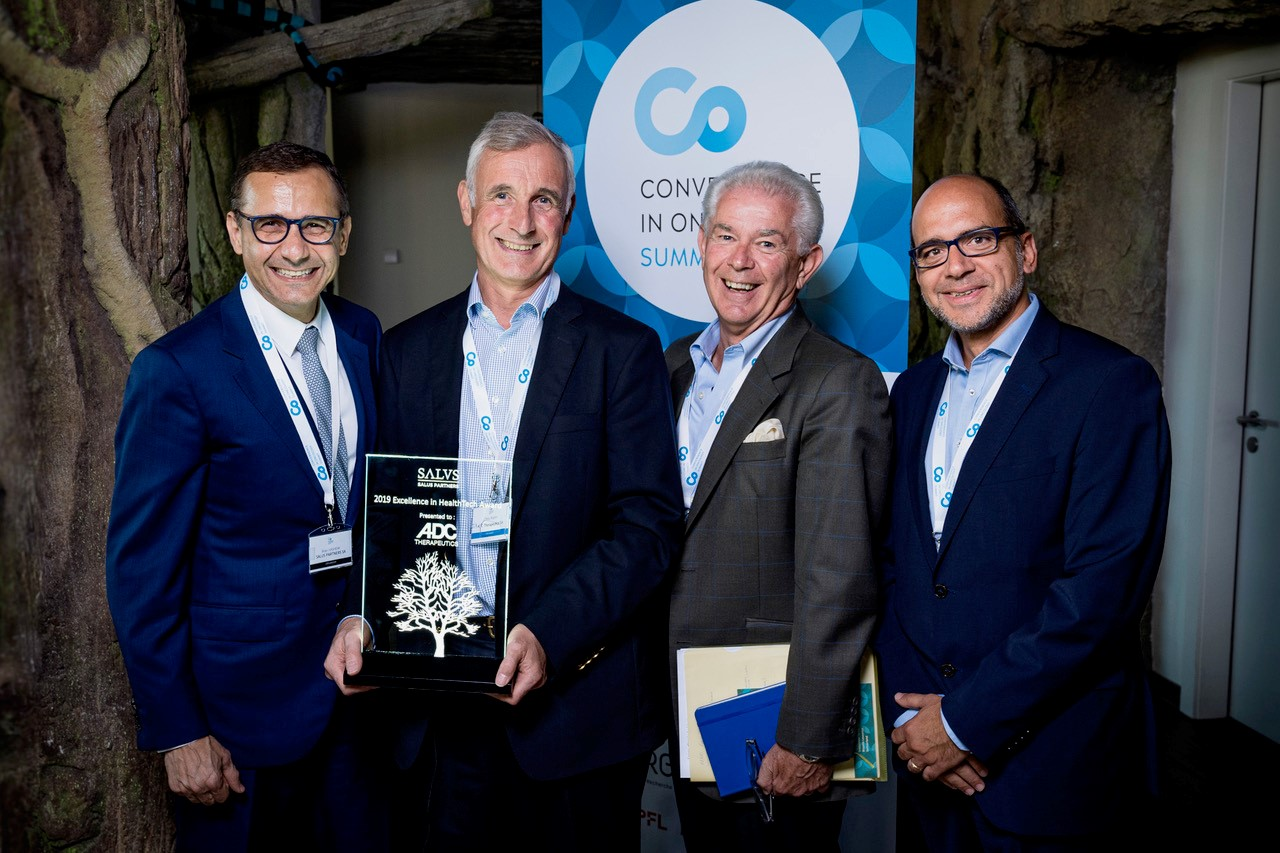 Salus-Excellence-Award  -  From left to right: Brian Hashemi, Founder and Managing Partner Salus Partners, Chris Martin, Founder and CEO ADC Therapeutics, William Burns, Chairman of Molecular Partners, former CEO Roche Pharma, and Nasri Nahas, CEO Biopole