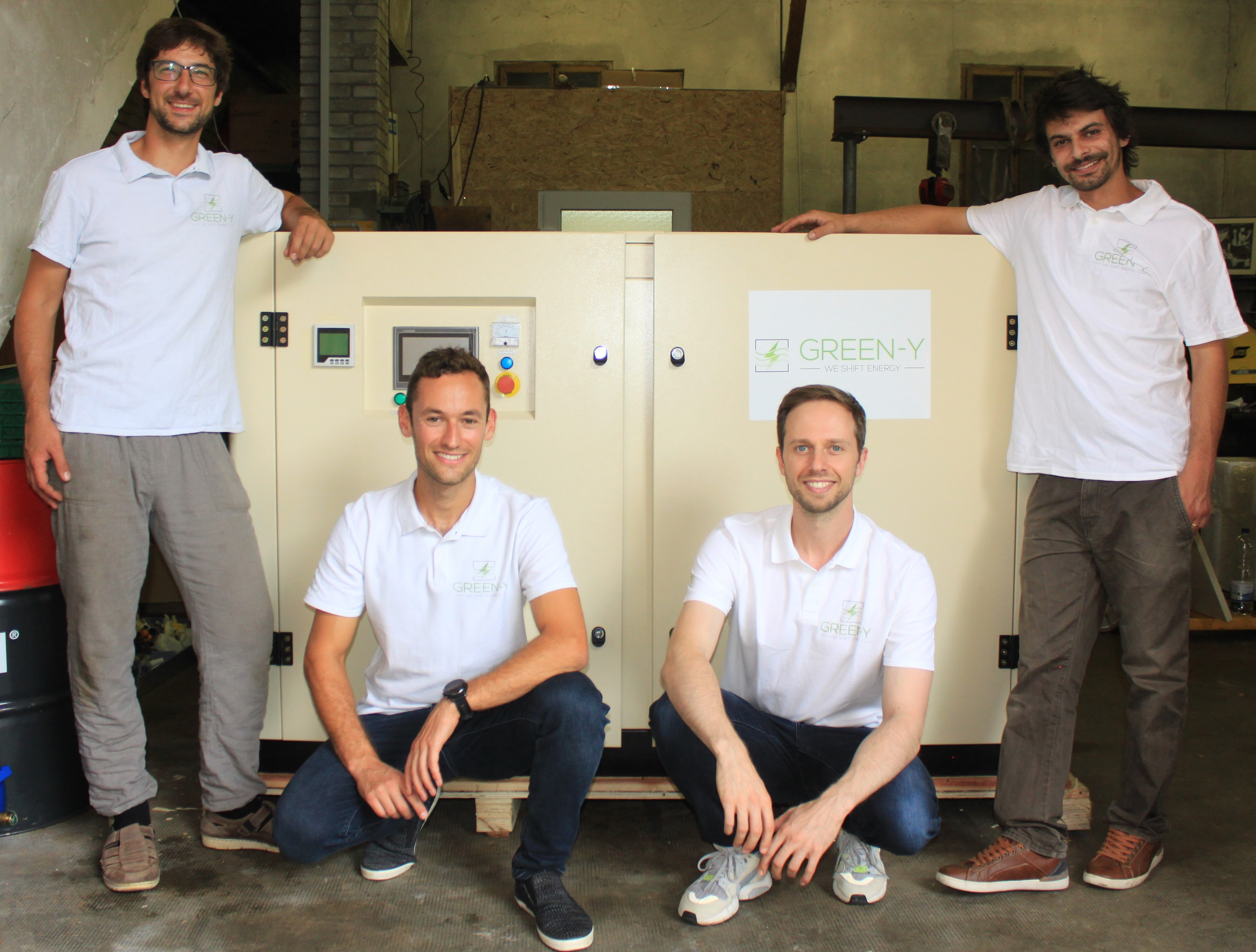 Green-Y Team. From left to right Patrick Baumann CTO, Dominik Schnarwiler COO, Peter Fritzen CFO, Rafik Barhaoumi CEO